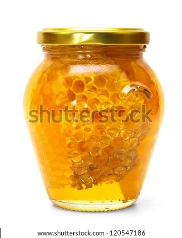 Honey jar isolated on white - stock photo