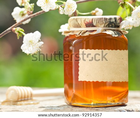 Honey jar with blank paper label, flower and wooden stick on table against green spring natural background - stock photo