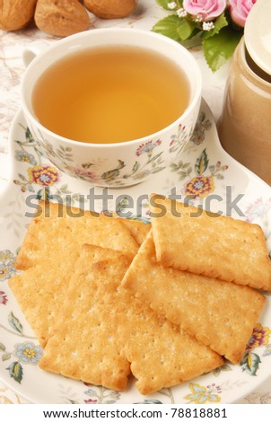Honey-oats coconut biscuit on restaurant table - stock photo