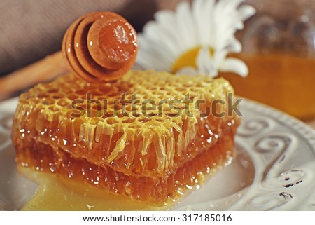 Honey products on plate closeup - stock photo