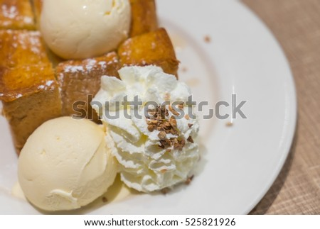 Honey toast with ice cream
