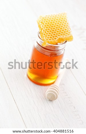 honey with honey comb - food and drink - stock photo