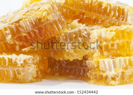 Honeycomb close up on the white - stock photo
