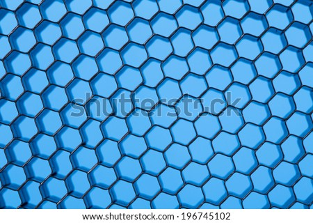 Honeycomb grid against blue background. Close up of texture. - stock photo
