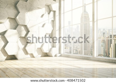 Honeycomb interior with New York city view. 3D Rendering - stock photo