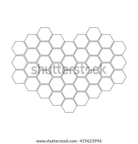 Honeycomb set in shape of heart. Beehive element. Honey icon. Isolated. White background. Flat design. Flat design.