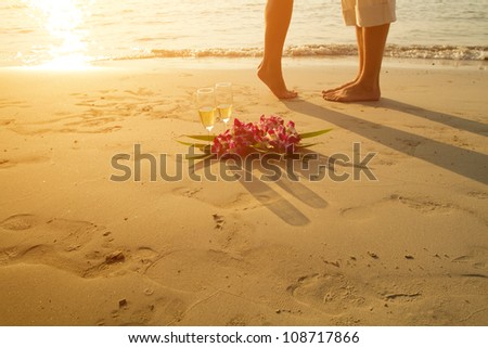honeymoon, wedding couple on the beach - with place for the text - stock photo