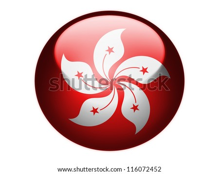 Hong-hong flag painted on glossy round sphere or icon