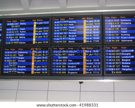 Hong kong airport, arrival board - stock photo