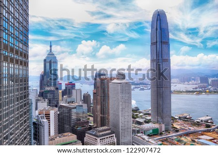 Hong Kong and modern building at day - stock photo