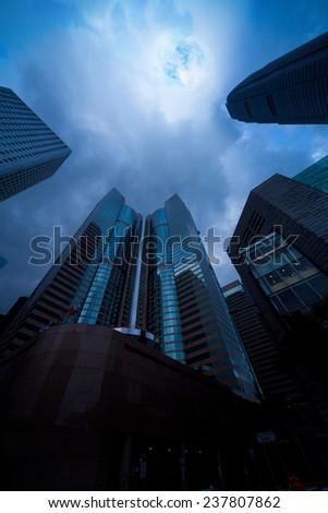Hong Kong architecture through a wide-angle lens series - stock photo