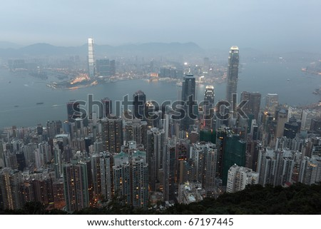 Hong Kong at dusk. View from the Victoria Peak - stock photo