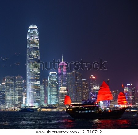 Hong Kong at night from across Victoria Harbor - stock photo