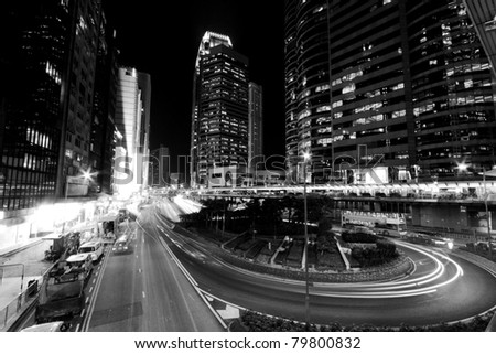 Hong Kong at night in black and white toned - stock photo