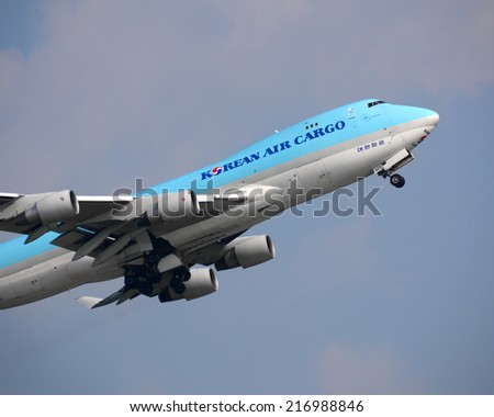 HONG KONG - August 10: Korean Air Cargo departure from Hong Kong International Airport on August 10, 2013 in Hong Kong. Korean Air is both the flag carrier and the largest airline of South Korea.