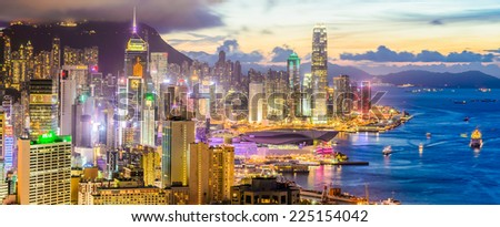 HONG KONG -August 9: Scene of the Victoria Harbour on August 9, 2014 in Hong Kong. Victoria Harbour is the famous attraction place for tourist to visit. - stock photo