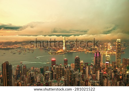 Hong Kong central district skyline and Victoria Harbour view at night - stock photo