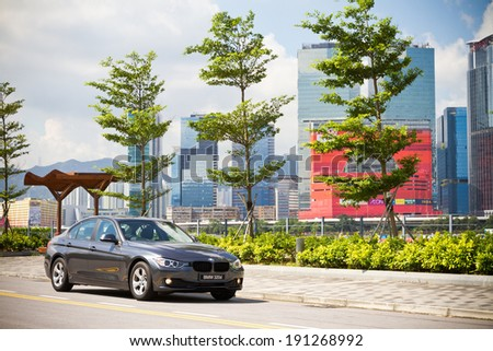 Hong Kong, China Aug 27, 2013 : BMW 320d Sedan 2013 test drive on Aug 27 2013 in Hong Kong. - stock photo