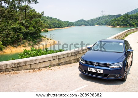 Hong Kong, China Aug 1, 2014 : Volkswagen Jetta GT 2014 test drive on Aug 1 2014 in Hong Kong. - stock photo