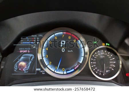 Hong Kong, China Dec 10, 2014 : Lexus RC F 2014 dashboard on Dec 10 2014 in Hong Kong. - stock photo