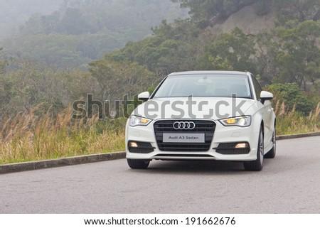 Hong Kong, China FEB 18, 2014 : Audi S3 Sedan 2014 Model test drive on FEB 18 2014 in Hong Kong. - stock photo