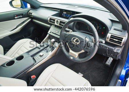 Hong Kong, China Feb 11, 2016 : Lexus IS200t Tubro 2016 Interior on Feb 11 2016 in Hong Kong.