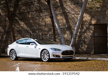 Hong Kong, China Feb 6, 2013 : Tesla Model S Electronic Car test drive on Feb 6 2013 in Hong Kong. - stock photo