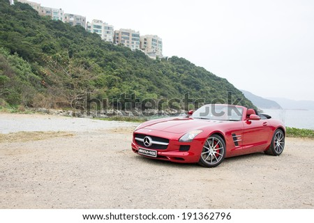 Hong Kong, China Jan 18, 2012 : Mercedes-Benz SLS AMG test drive on Jan 18 2012 in Hong Kong. - stock photo
