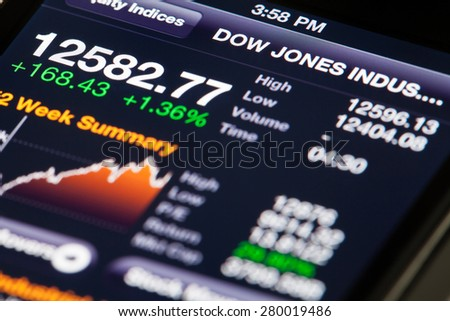 Hong Kong, China - July 2, 2011: iPhone running Bloomberg app, displaying Dow Jones Industrial Average data - stock photo