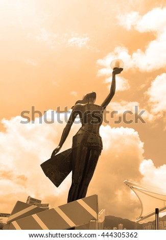 HONG KONG, CHINA - JUN 9,2016: Statue in Avenue of Stars in Hong Kong, China. The promenade honours celebrities of the Hong Kong film industry as the famous city attraction. - stock photo