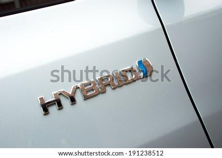 Hong Kong, China March 8, 2012 : Toyota Prius Hybrid logo on March 8 2012 in Hong Kong. - stock photo