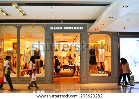 HONG KONG/CHINA - MAY 25: Club Monaco Luxury Shop in IFC Mall, Hong Kong on May 25th 2014. IFC mall is one of the prestigious shopping centers in Hong Kong.