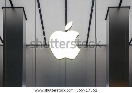 HONG KONG, CHINA - NOVEMBER 28, 2015: Apple Store window in Kowloon. Apple Inc. is an American multinational technology company headquartered in Cupertino, California. - stock photo
