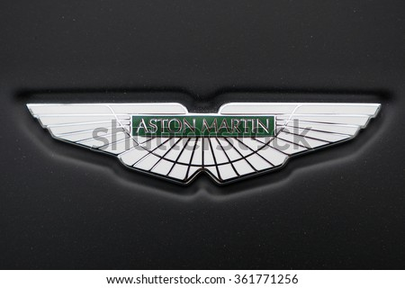 HONG KONG, CHINA - NOVEMBER 26, 2015: Logo detail. Aston Martin is a British manufacturer of luxury sports cars and grand tourers founded in 1913. - stock photo