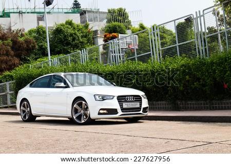 Hong Kong, China Oct 3, 2014 : Audi A5 Sportback Black Edition 2014 test drive on Oct 3 2014 in Hong Kong. - stock photo
