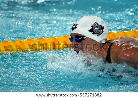 Hong Kong, China - Oct 30, 2016. Competitive swimmer Katinka HOSSZU (HUN) swimming in the Women's Butterfly 200m Preliminary Heat. FINA Swimming World Cup, Victoria Park Swimming Pool.