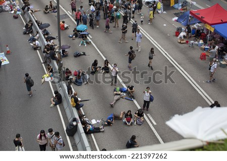 Hong Kong, China Oct. 4, 2014, Occupy Central, pro democracy protesters have blocked off streets in Hong Kong's Central business district since September  28, 2014.
