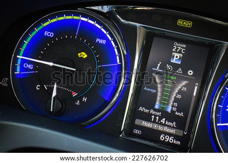Hong Kong, China Oct 27, 2014 : Toyota Camry Hybrid 2014 dashboard on Oct 27 2014 in Hong Kong. - stock photo