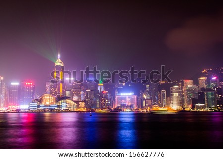 HONG KONG, CHINA - OCT 01: Victoria Harbor in Hong Kong on Oct 01, 2013. The Victoria Harbor is world-famous for its stunning panoramic night view and skyline.  - stock photo