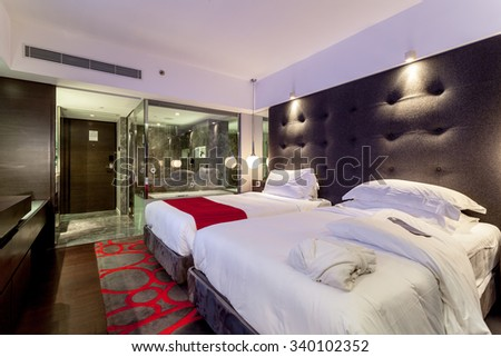 HONG KONG, CHINA - SEPTEMBER 14, 2012: The Mira Hong Kong offers you a luxury design hotel stay in Tsim Sha Tsui, Hong Kong. - stock photo