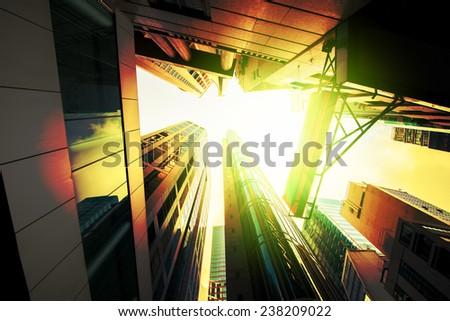 Hong Kong, China. Views of the skyscrapers below. Sunset. - stock photo