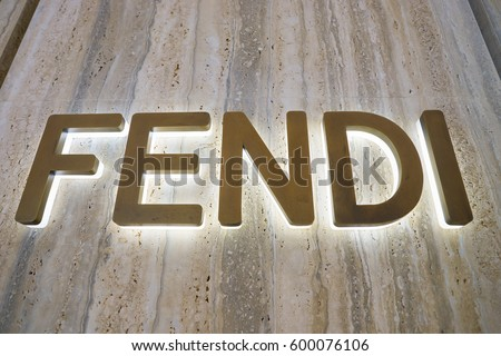 HONG KONG - CIRCA NOVEMBER, 2016: close up shot of Fendi sign at the Elements shopping mall.