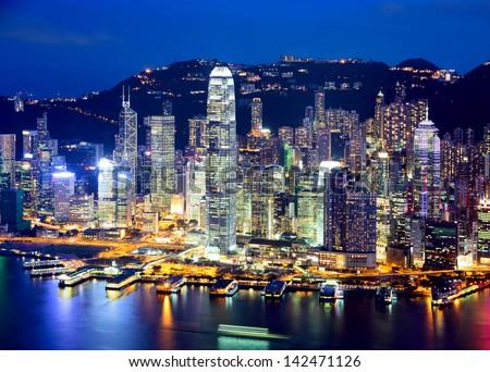 Hong Kong city at evening - stock photo