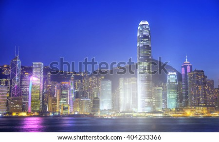 Hong Kong City at Night Cityscape Concept