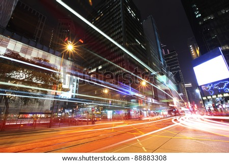 Hong Kong City at night, light trails on the road showing speed and metopolitan atmosphere