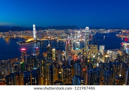 hong kong city night - stock photo