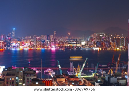 Hong Kong city night river high definition - stock photo
