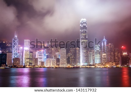 Hong Kong City Night View With Cloudy Weather