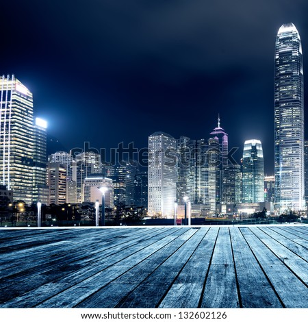 Hong Kong city skyline at nigh - stock photo