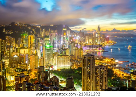 Hong Kong city Skyline from braemar hill at dusk - stock photo